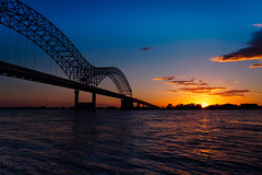 Sunset over the Mississippi River (tmalone893) Tags: sunset sun bridge river mississippi sky skyline clouds sony alpha6500 a6500 sigma 19mm memphis tennessee
