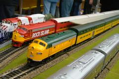 HO. 1/87 scale locomotives. (Chicago Rail Head) Tags: modellocomotive ho187scale localmodeltrainclubs cbqburlingtonroute cnw rockislandrr southernpacific livesteamerscp440 lagrangeltshow2017 chicagocommutertrains emd f7