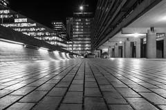 Highwalk (Spannarama) Tags: lowviewpoint ratseyeview highwalk vanishingpoint brutalist concrete architecture lights lowlight dark evening night barbican london uk blackandwhite