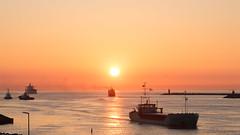 IJmuiden Sunset (tribsa2) Tags: nederlandvandaag marculescueugendreamsoflightportal sunset sunrisesunset sky seaside seascape shoreline sea ship schip schepen vessel vrachtschip