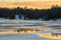 Beginning To Melt (Lindaw9) Tags: shanty bay melting treeline sunset snow ice northern ontario march