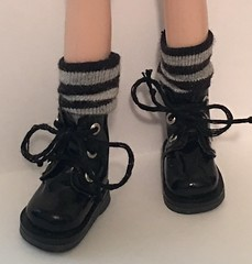 Short Black and Gray Thin Striped Socks For Blythe...