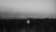 The Boundary (Kristian Francke) Tags: film black white monochrome bw outdoors kiev 4 nature sign flat marsh flatland cloud grain bc canada british columbia kodak tmax 400 jupiter 8 rangefinder