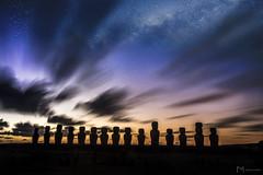 Ahu Tongariki Sunrise (Mauricio Narea) Tags: sunrise easterisland canon stars longexposure moai night milkyway chile travel landscapes southamerica america tokina rapanui isladepascua island