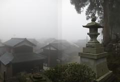 Kamo Jinja, misty morning in Nakashinjo-cho (anthroview) Tags: panorama canons110 stitchedpanorama fukuiken ruraljapan 武生、越前市、915 福井県、 kamojinja shintoshrine nakashinjo sabae