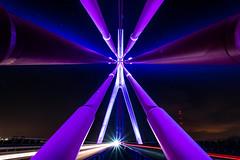Hanging in the balance (Ir3nicus) Tags: nikond750 dslr fullframe outdoor longexposure wesel deutschland germany niederrhein nordrheinwestfalen langzeitbelichtung bridge brücke stahl lichter lights rhein rheinbrücke rhine symmetry symmetrie brückenträger bridgegirder blue purple blau lila nacht night road city