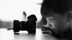 >>> A Master At Work <<< (Harjodik) Tags: kids children child love family boy olympus em5 45mm mono blackandwhite black white greyscale bokeh dof