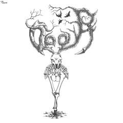 Deerween (reXraXon) Tags: raxon art artwork pencilart drawing handdrawing sketch pencilsketch typography lettering handlettering letteringart deer skull bone bat