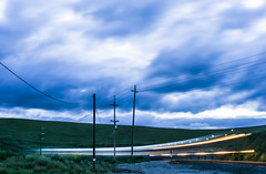 around the bend ll (pbo31) Tags: livermore eastbay alamedacounty country color april 2017 spring boury pbo31 nikon d810 sky bayarea lightstream motion ace train altamontcorridorexpress commuter motionblur blue rail green altamontpass powerlines crossing curve