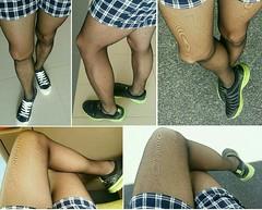 07.04.17 - Su.Soku Extra Support pantyhose, Black, with Uniqlo women's relaco shorts, navy. (leodumlao) Tags: susokupantyhose 15denier extrasupportpantyhose meninpantyhose blackpantyhose hoseandshorts