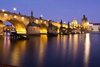 blue hour shot Charles Bridge, Prague