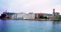 The Punta of Piran from Boat 97_072 (Andras, Fulop) Tags: slovenia anno 1997 colorslide positivefilm archive landscape town sea water