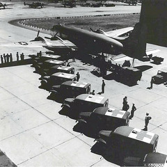 Ambulances line up near DC-54 at Hickam Field to transport patients to Tripler Army Hospital, 1942