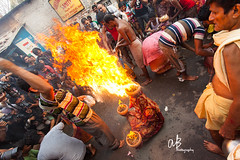 Dondi Rituals ( )   Kolkata (@k@sh) Tags: road india water 35mm canon fire area 5d ritual tradition vote hindu kolkata 1740 dondi dandi akash mark2 kalighat sitala