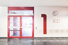 1st Floor (GregoireC - www.gregoirec.com) Tags: red white building berlin architecture modern canon germany office plattenbau dri tempelhof gesundheitsamt 5dmarkii tse17mmf4l