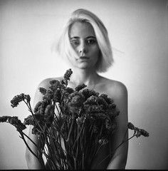 Liza (Vasilij Betin) Tags: china flowers shadow portrait people bw art 120 6x6 film mystery analog dark private nude square photography blackwhite women asia shadows darkness personal grain squareformat chongqing withoutphotoshop