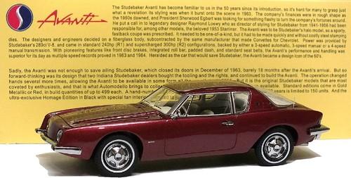 Automodello Studebaker Avanti 1963