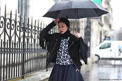 Fuyuri Kobayashi, Street Style at Paris fashion week (Marie-Paola Bertrand-Hillion) Tags: street paris france rain fashion umbrella photography style parisfashionweek fashionweek streetfashion streetstyle pfw fashionblogger fuyurikobayashi