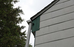 Eave Detail, Miller-Smith Log House — Blue Ash, Ohio (Pythaglio) Tags: county blue ohio house pen altered early log construction board hamilton plate smith double historic miller rake sycamore vacant ash gutter siding residence downspout township eave hazelwood asbestos pinned remodeled saddlebag overhanging mortised tenoned