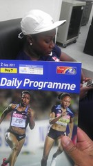 In the waiting room before going into press conference after the 200m. She won the SILVER medal tonight.
