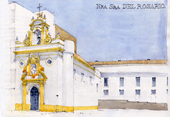 Séville, Chapelle Nra Sra del Rosario (gerard michel) Tags: architecture sketch sevilla spain aquarelle watercolour baroque chapelle croquis