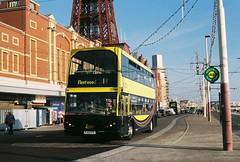 Blackpool Sea Front - Spring 2014 (barbirolli) Tags: minolta dennis blackpool streetscape srt101 eastlancs myllennium agfaphoto tridentii blackpooltransport lolyne pj03tfv vistaplus200 mdrokkorf245mm