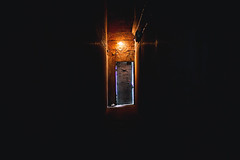 . (Katie Manko) Tags: door light building architecture canon way subway 50mm graffiti interesting space fear bricks tunnel horror gloom exit ghett