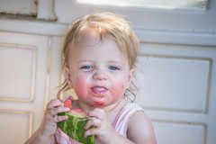 Amelia's Watermelon Tongue (donnierayjones) Tags: baby girl smile face tongue out happy toddler watermelon eat stick