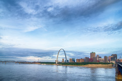 early morning Cityscape of St. Louis skyline in Missouri state (DigiDreamGrafix.com) Tags: city morning travel blue sunset sky urban usa reflection green monument water saint st metal horizontal night clouds america skyscraper buildings river mississippi lights evening louis illinois twilight midwest shiny arch purple dusk pastel arc skylines landmark missouri gateway scenes