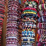 Bracelets of seeds, beads and shells, Lima market