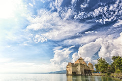 Chateau Chillon (Pat Charles) Tags: sky lake reflection castle water clouds schweiz switzerland suisse chillon chateau lakegeneva montreux vaud lacléman myswitzerland