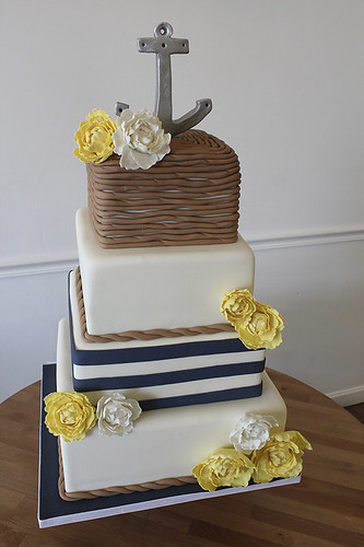 Nautical Anchor Rope and Peonies Wedding Cake