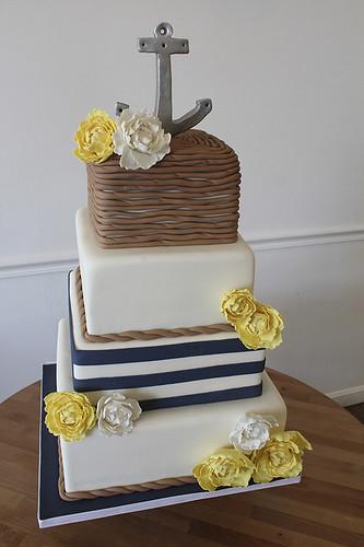 Nautical Anchor Rope and Peonies Wedding Cake
