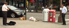 Summertime (Violin) Blues (Robert S. Photography) Tags: street nyc summer people musician brooklyn standing garbage scene sidewalk violin heat stores canonpowershot sidestreet 2014 a3400