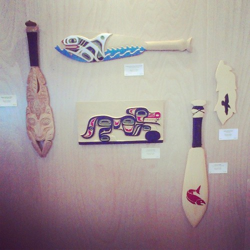 Carved paddles by Whitehorse #yxy artists Benjamin Gribben and Deborah Wright were displayed at Adäka festival