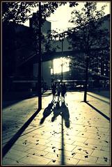 Autumn Shadows, Liverpool Mono (ronramstew) Tags: autumn leaves liverpool women shadows merseyside liverpoolone
