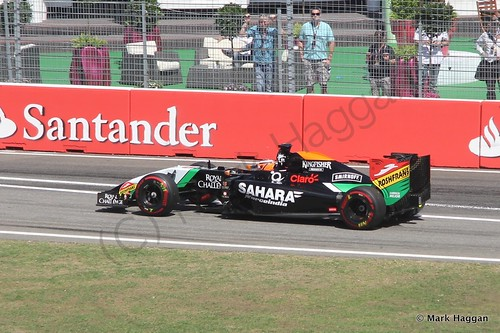 Nico Hulkenberg in his Force India in Free Practice 2 at the 2014 German Grand Prix