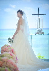 Bride (Roy Cheung Photography) Tags: ocean blue wedding sea portrait people white beach church asian bride married veil cross marriage chapel gown bouqet