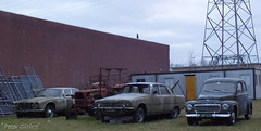 1964 Volvo PV 544 C , 1970 Rover P6 3500, Old Tractor & 1970 Jaguar XJ6 2.8 (peterolthof) Tags: 1061nr rover 3500 p6 jaguar xj6 ar9598 volvo pv544 jm1231 groningen peterolthof
