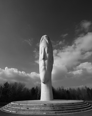 The face. (Barry Miller _ Bazz) Tags: sigma1224mm lens wideangle canon5dmark3 outdoorphotography sthelens suttonmanor thedream monochrome blackandwhite sculpture