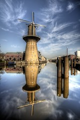 Noletmolen - Distillery (Rik Tiggelhoven Travel Photography) Tags: nolet molen noletmolen windmill mill schiedam holland netherlands nederland city water sky clouds reflection distillery distilleerderij ketel one wodka jenever hdr ndfilter fader neutral density filter reflectie longexposure long exposure canon 6d fullframe ef20mmf28usm prime rik tiggelhoven travel photography