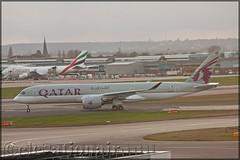 A7-ALF Airbus A350-941 Qatar Airways (elevationair ✈) Tags: london heathrow londonheathrow lhr egll airliners airlines avgeek aviation airplane plane aircraft airbus a350 a359 airbusa350941 a7alf qatar1 taxy runway terminal cloudy overcast dull