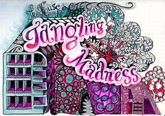 The House of Tangling Madness (molossus, who says Life Imitates Doodles) Tags: zentangle zentangleinspiredart tombow lettering artjournaling