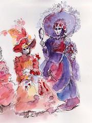 Carnaval vénitien à Annecy (m.JaKar) Tags: aquarelle annecy croquis dessinurbain france carnaval hautesavoie insitu usk personnages masque urbansketchers vénitien