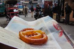 IMG_25122 (Manveer Jarosz) Tags: bharat delhi hindustan india ncr dessert food jalebi mithai newspaper streetfood sweet