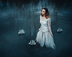 Her own voyage (Adam Bird Photography) Tags: adambirdphotography adambird water model reflection boat journey light conceptual surreal narrative fineart scene flickr explore still location nature natural blue dress white