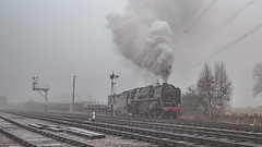 Freight duty (Peter Leigh50) Tags: 70013 oliver cromwell great central railway gcr freight train semaphore signal box track railroad canon eos 6d mist fog steam frost cold winter gala january 2017