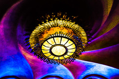 Chandelier in Casa Batlló (laurenspies) Tags: barcelona eixample europe spain chandelier colorful swirls gaudí casabatlló catalunya catalonia