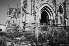 R4-010-3A (David Swift Photography Thanks for 21 million view) Tags: davidswiftphotography philadelphia westphiladelphia abandonedchurches ruins fence architecture churches holyplaces archways 35mm film leicaminilux ilfordxp2