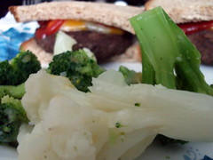 Broccoli, Cauliflower And Burgers. (dccradio) Tags: lumberton nc northcarolina robesoncounty food eat meal yum hamburger cheeseburger dinner supper lunch meat meltedcheese catsup ketchup sandwich bread vegetables veggies cauliflower broccoli